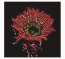 Neon Red Sunflower Kids Tee