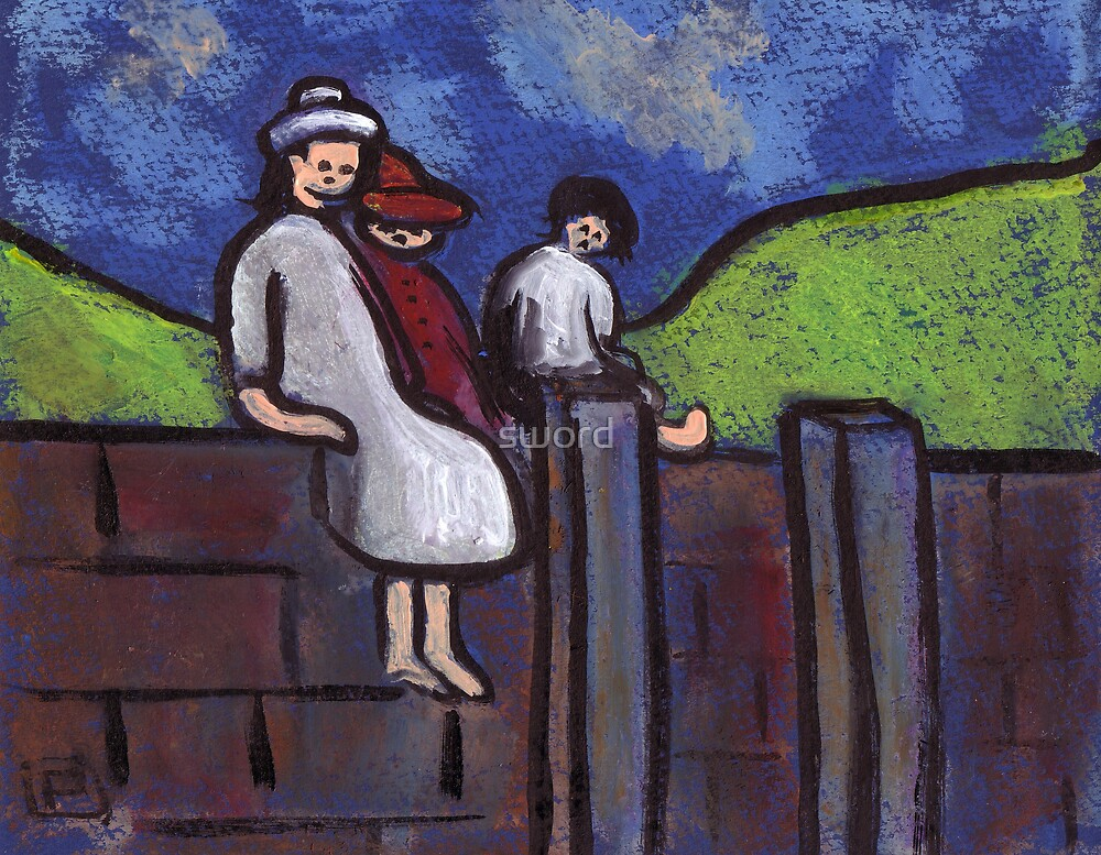 Children on a wall by sword
