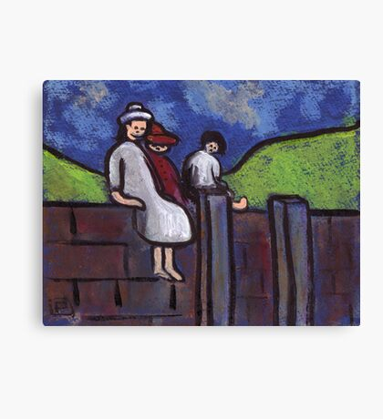 Children on a wall Canvas Print