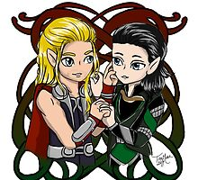 Chibi Thor and Loki Norse Sign by TreeMuse