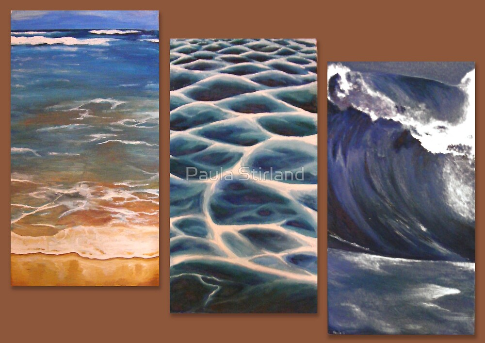 Beach triptych by Paula Stirland