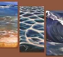 Beach triptych by Paula Stirland