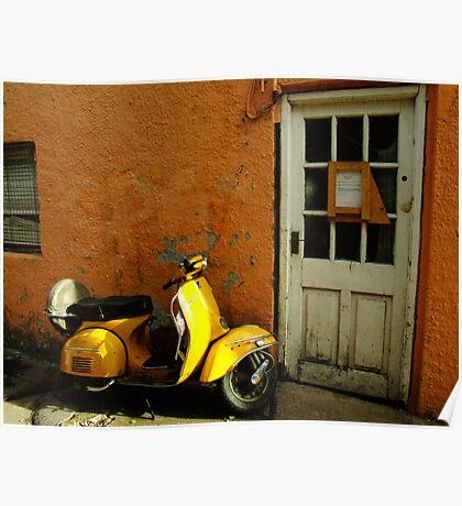 Vespa At The Door Poster