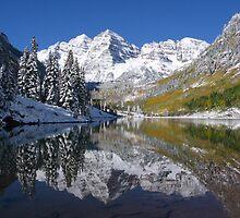 """Morning Sun on Midnight Snow, Maroon Bells, Colorado"" by Nyakaya"