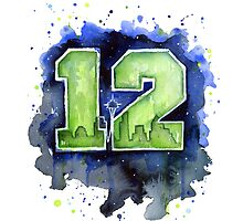 Seattle 12th Man Seahawks GO HAWKS Fan Art by OlechkaDesign