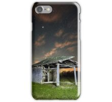 Shack on a meadow at night iPhone Case/Skin