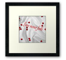valentines,hearts,silk,love never fails, everlasting love,valentine, heart, red,white,romantic,elegant,chic Framed Print