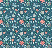 Retro blue pattern by JuliaBadeeva