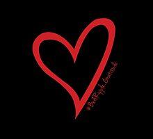 #BeARipple...Gratitude Red Heart on Black by BeARipple