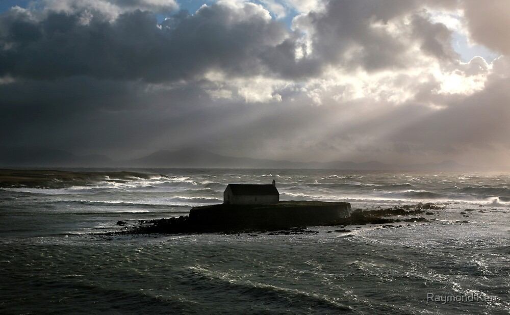 blown out to sea - saint cwyfan by Raymond Kerr