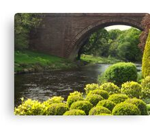 Bushes , Bridge and River Canvas Print