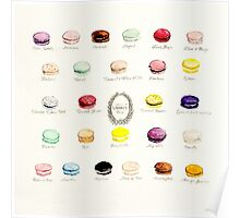 Laduree Macarons Flavor Menu Poster