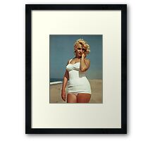 Marilyn Monroe White Swimsuit Framed Print