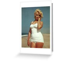 Marilyn Monroe White Swimsuit Greeting Card