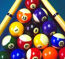 Pool Balls and Cue Sticks by SteveOhlsen