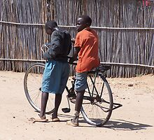 Boys on Bicycle - Sudan by Martina Nicolls