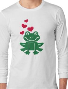Frog love red hearts Long Sleeve T-Shirt