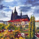 Prague Castle with the Vltava River 01 by Yuriy Shevchuk