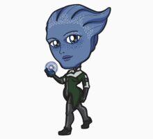 Mass Effect - Asari Liara T'Soni wielding Biotics Chibi Sticker by Zphal