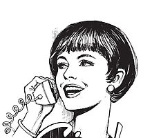 Ciao! - Retro - Woman on landline phone by cool-tshirt-bro