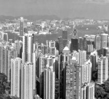 Hong Kong Daytime Skyline B&W Sticker
