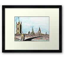 Lambeth Bridge and The Palace of Westminster. Framed Print