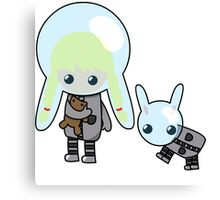 Space Girl with Space Bunny Canvas Print