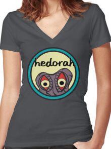 "Hedorah's ""Sick Smog World"" Women's Fitted V-Neck T-Shirt"
