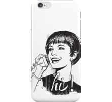 Hi! - Retro - Woman on landline phone iPhone Case/Skin