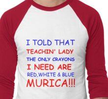 RED WHIT AND BLUE MURICA!!! Men's Baseball ¾ T-Shirt