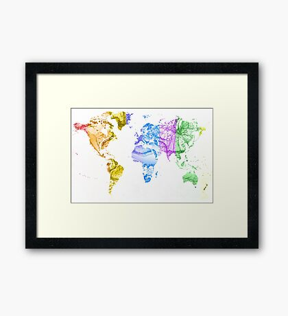 World Map Water Splash Rainbow colors Framed Print