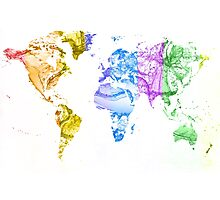 World Map Water Splash Rainbow colors Photographic Print