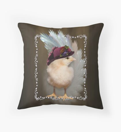 Chic Chick Easter Bonnet Throw Pillow