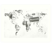 World map post stamps black and white Art Print