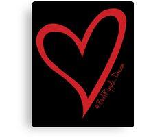 #BeARipple...Dream. Red Heart on Black Canvas Print