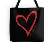 #BeARipple...Focus Red Heart on Black Tote Bag