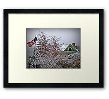 Snow Blown Stars And Stripes Framed Print