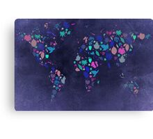 World Map Colourful Leaves Blueprint  Canvas Print