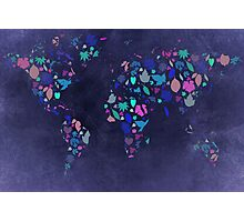 World Map Colourful Leaves Blueprint  Photographic Print