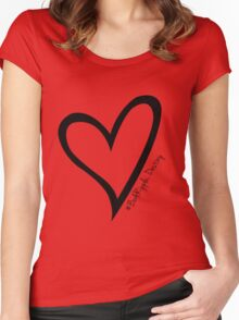 #BeARipple...Destiny Black Heart on Red Women's Fitted Scoop T-Shirt