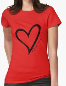 #BeARipple...Destiny Black Heart on Red Womens Fitted T-Shirt