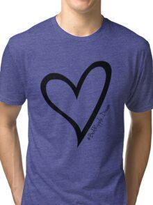 #BeARipple...Dream Black Heart on White Tri-blend T-Shirt