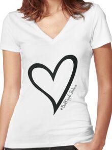 #BeARipple...Believe Black Heart on White Women's Fitted V-Neck T-Shirt