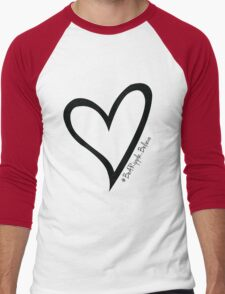 #BeARipple...Believe Black Heart on White Men's Baseball ¾ T-Shirt