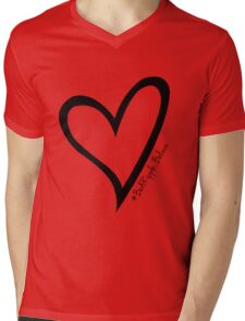 #BeARipple...Believe Black Heart on White Mens V-Neck T-Shirt