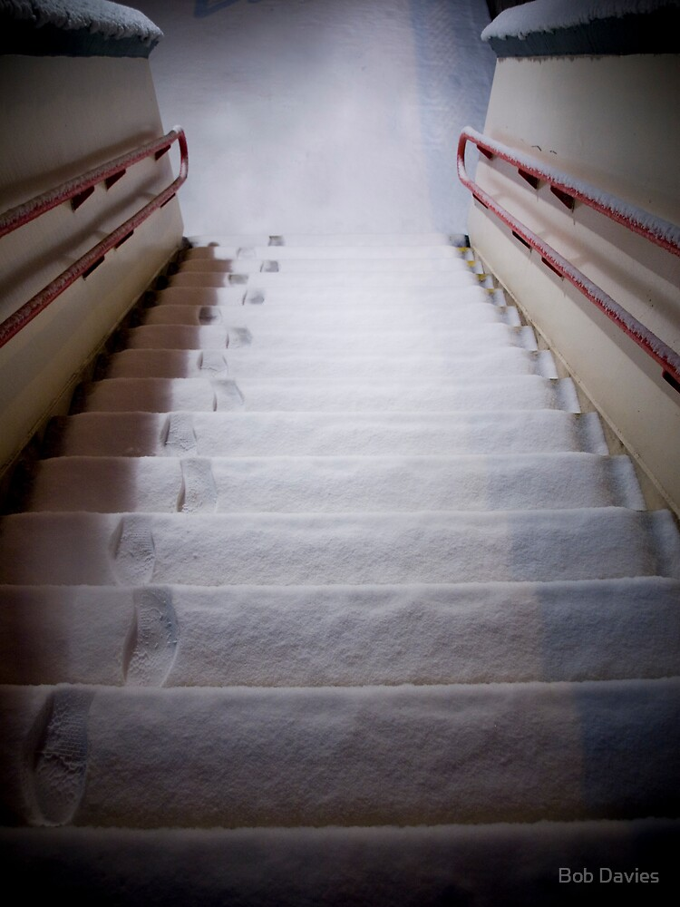 Steps Covered With Snow and Footprints at Night by Rob Davies