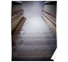 Steps Covered With Snow and Footprints at Night Poster