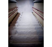 Steps Covered With Snow and Footprints at Night Photographic Print