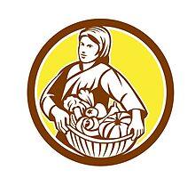 Female Organic Farmer Basket Harvest Retro by patrimonio