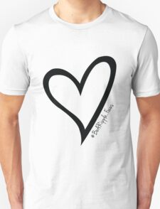 #BeARipple...Focus Black Heart on White T-Shirt